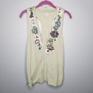 {Free People}NWT Green Flower Embroidery Tank Top